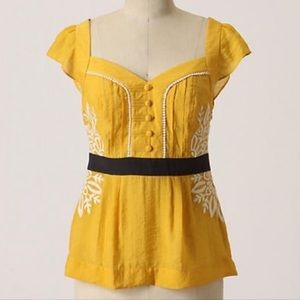 Anthro floreat yellow embroidered top